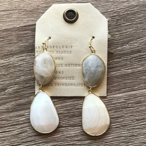NWT Anthropologie White Stone Drop Earrings